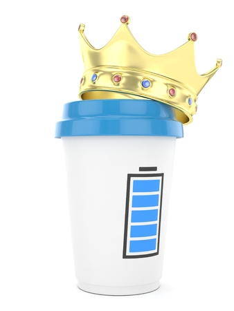 energize: Coffee cup with golden crown and battery on white background.