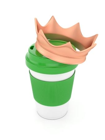 energize: Coffee cup with bronze crown on white background. Stock Photo