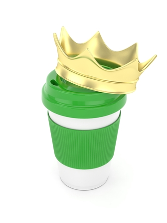 energize: Coffee cup with golden crown on white background. Stock Photo