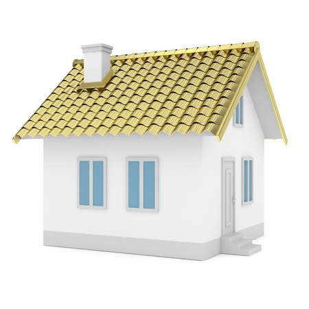 simple house: White simple house with golden roof on white background.