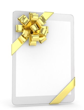 moble: White tablet with golden bow. 3D rendering.