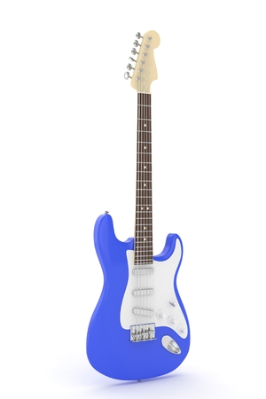 electric blue: Isolated blue electric guitar on white background.