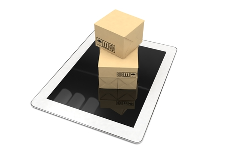 e work: Technology business concept of shipping: cardboard package boxes on tablet. 3d rendering. Stock Photo