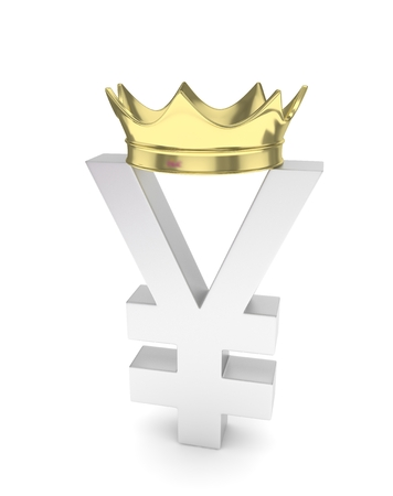 japanese currency: Isolated silver yen yuan sign with golden crown on white background. Chinese japanese currency. Concept of investment, asian market, savings. Power, luxury and wealth. 3D rendering.