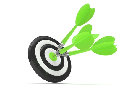 business performance: Three arrows darts in center. 3d rendering.
