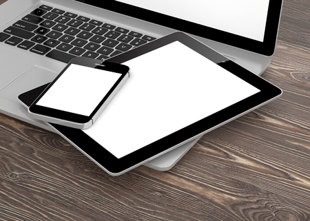 laptop mobile: Laptop, phone and tablet pc. 3d rendering.
