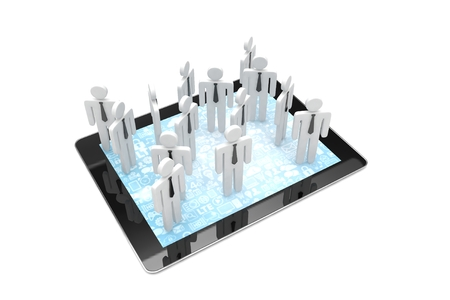 pc: group of people figures on tablet PC. 3d rendering. Stock Photo
