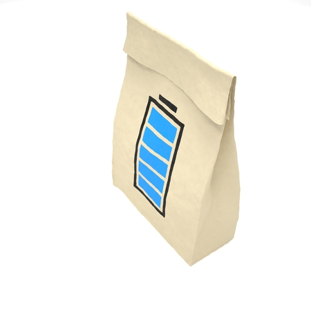 bagged: Lunch bag on white. 3d rendering.