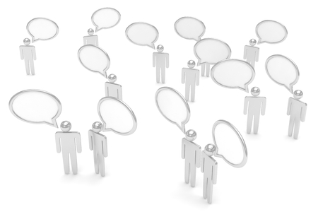 isolated illustartion: people with talk bubbles isolated over a white background. 3d rendering. Stock Photo