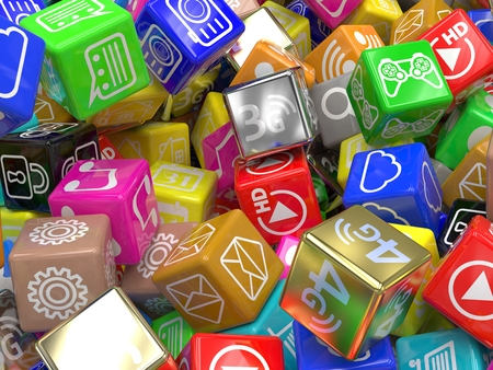 mobile app: mobile app icons background. 3d rendering. Stock Photo
