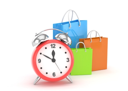 isolated illustartion: alarm clock and shopping bag (time to buy concept). 3d rendering. Stock Photo