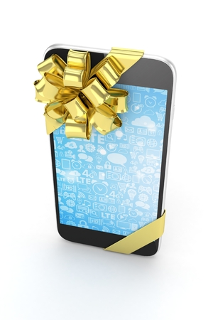 blue screen: Black phone with golden bow and blue screen. 3D rendering. Stock Photo