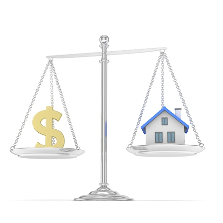 imbalance: Isolated silver scales with golden dollar and house on white background. Investment or savings concept. Real estate and currency. 3D rendering. Stock Photo