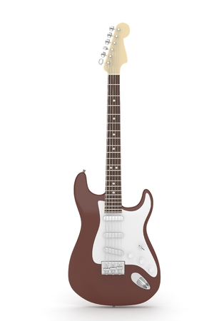 indie: Isolated brown electric guitar on white background.  Musical instrument for rock, blues, metal songs. 3D rendering.