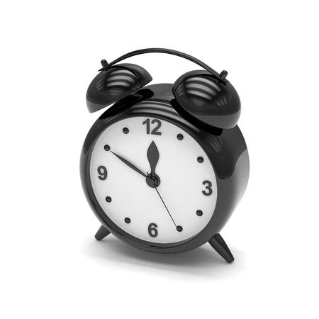 alarmclock: Black alarm clock on white. 3d rendering. Stock Photo