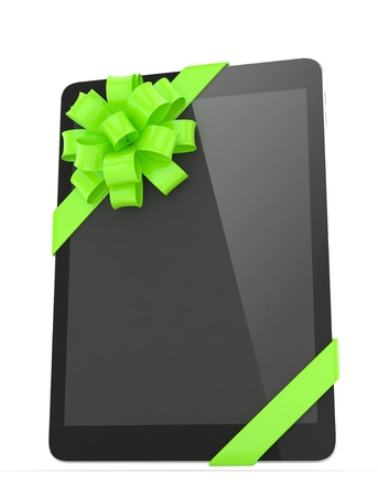 moble: Black tablet with green bow. 3D rendering.