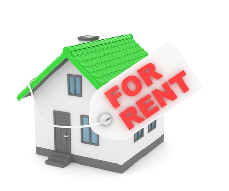 landlord: Miniature model of house real estate for rent label on white background. 3D rendering.