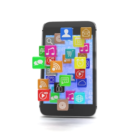 cellphone icon: icon app fall in smart phone. 3d rendering. Stock Photo