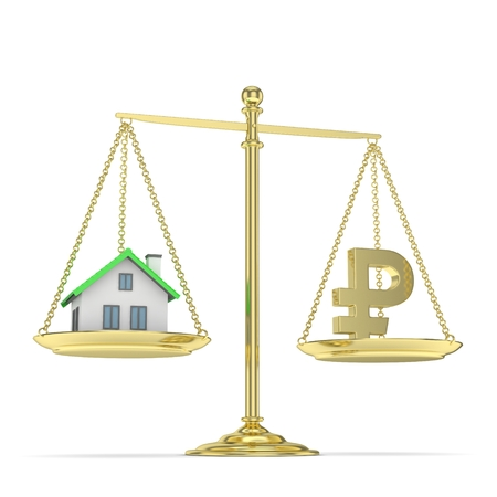 assess: Isolated old fashioned pan scale with ruble and house on white background. Real estate vs russian currency. Affordable house. 3D rendering. Stock Photo