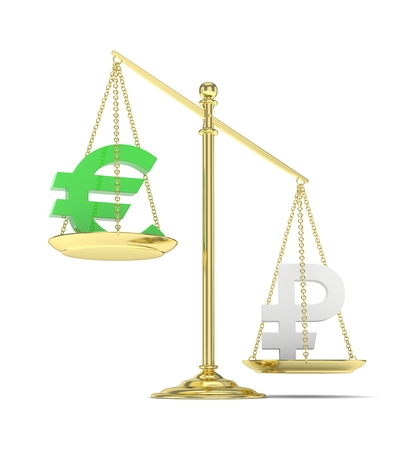 global rates: Isolated golden scales with green euro and silver ruble currency. Russian and european finance. Measuring of market stability. 3D rendering. Stock Photo