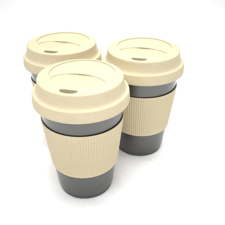 coffee cups: Three paper coffee cups. 3d rendering.