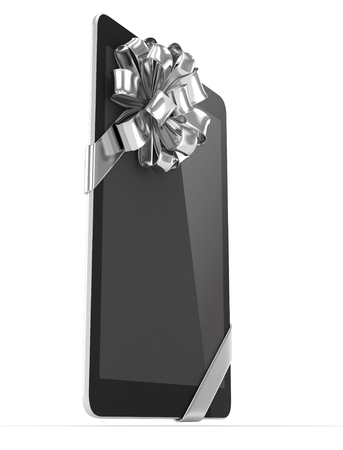 moble: Black tablet with silver bow. 3D rendering.