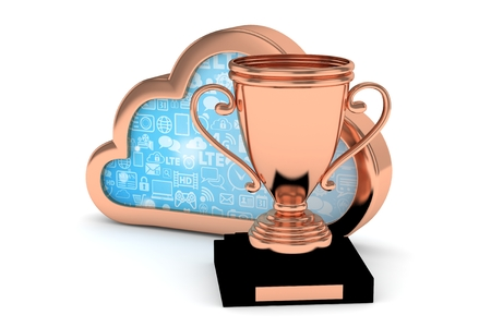 bronzed: Isolated bronze cup with cloud on white background. 3D rendering. Stock Photo