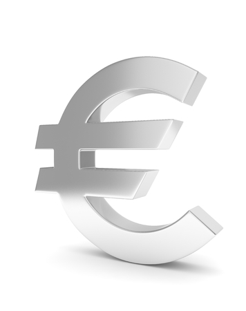 europe closeup: Isolated silver euro sign on white background. 3D rendering. Stock Photo