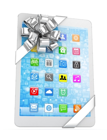 moble: White tablet with silver bow and icons. 3D rendering.