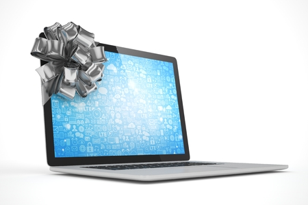 tied: Tied laptop with silver bow on white background. 3D rendering.