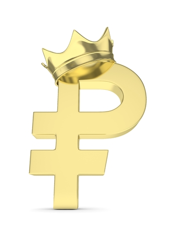 rouble: Isolated golden ruble sign with golden crown on white background. 3D rendering. Stock Photo