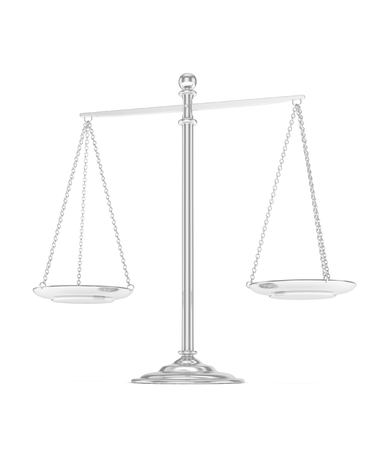 judgement: Isolated white silver scales on white background. Symbol of judgement. Law, measurement, liberty in one concept. 3D rendering. Stock Photo