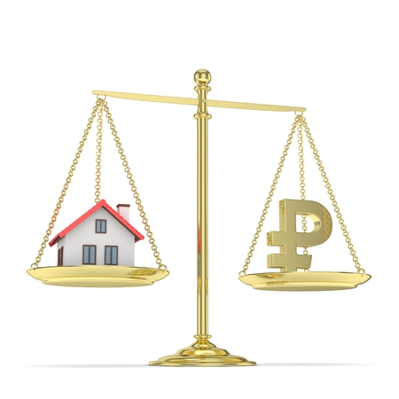 rouble: Isolated old fashioned pan scale with ruble and house on white background. Real estate vs russian currency. Affordable house. 3D rendering. Stock Photo