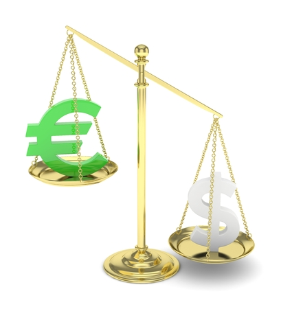 financial stability: Isolated old fashioned pan scale with dollar and euro on white background. American and european currency. Dollar is heavier. Silver usd, green euro. 3D rendering. Stock Photo