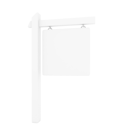 sign pole: Information sign pole on white background. Outdoor city banner and flag. Blank and template. 3D rendering. Stock Photo
