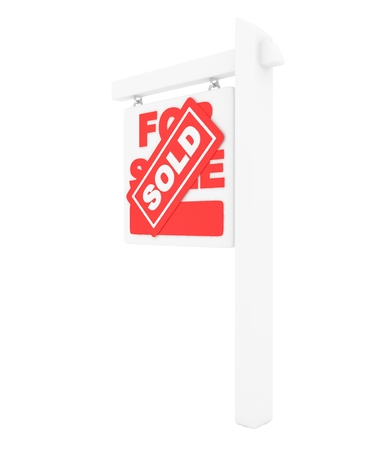 real estate sold: For sale sold red icon real estate on white background. 3D rendering. Stock Photo