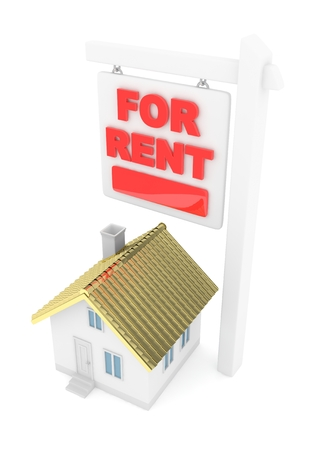 good investment: Isolated model of house with for sale sign on white background. Good investment in real estate. Buy new apartment. Golden roof. 3D rendering. Stock Photo