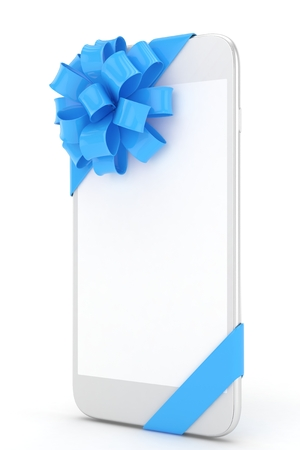 blue white: White phone with blue bow and empty screen. 3D rendering.