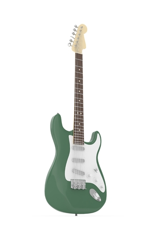 truss: Isolated green electric guitar on white background.  Musical instrument for rock, blues, metal songs. 3D rendering. Stock Photo