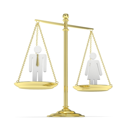 sexes: Isolated old fashioned pan scale with man and woman on white background. Gender inequality. Equality of sexes. Law issues. Silver model. 3D rendering.