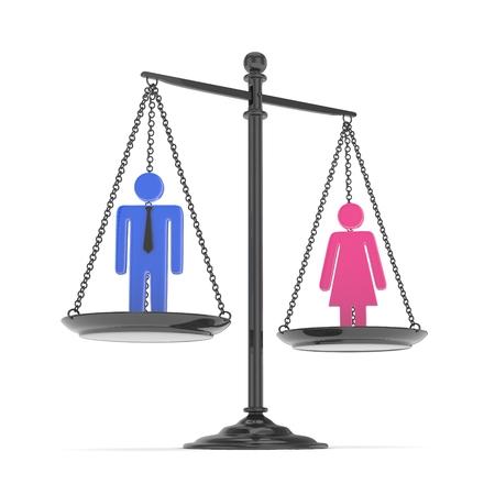 Escala antiquado isolada da bandeja com homem e mulher no fundo branco. Desigualdade de gênero. Igualdade de sexos. Questões de direito. Modelo colorido. Renderização 3D. Foto de archivo