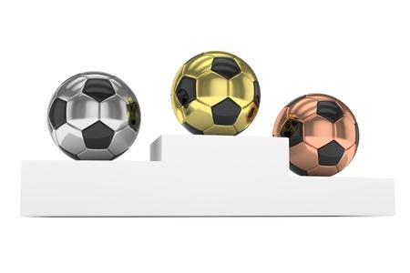gloss: Three gloss soccer balls on white pedestal. 3D rendering.
