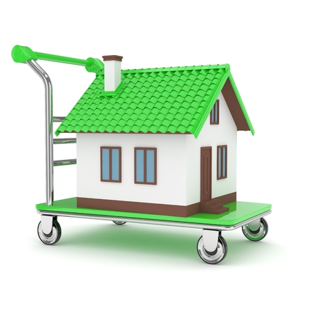 tractor warning sign: Model of house on wheeled platform on white background. Concept of property moving, delivering. 3D rendering.