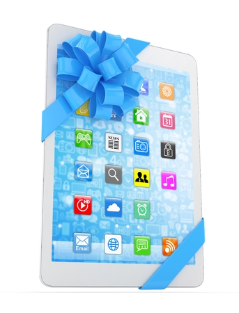 blue bow: White tablet with blue bow and icons. 3D rendering.