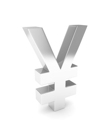 japanese currency: Isolated silver yen yuan sign on white background. Chinese japanese currency. Concept of investment, asian market, savings. Power, luxury and wealth. 3D rendering.