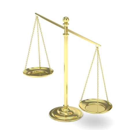 imbalance: Isolated white golden scales on white background. Symbol of judgement. Law, measurement, liberty in one concept. 3D rendering.