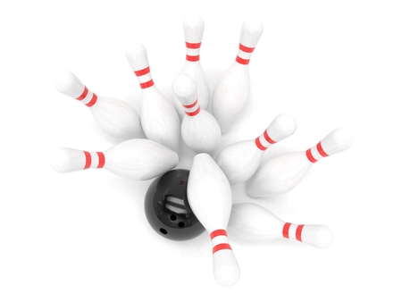 alleys: Bowling ball and skittles isolated. 3d rendering.