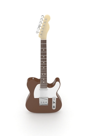 blues: Isolated brown electric guitar on white background.  Musical instrument for rock, blues, metal songs. 3D rendering.
