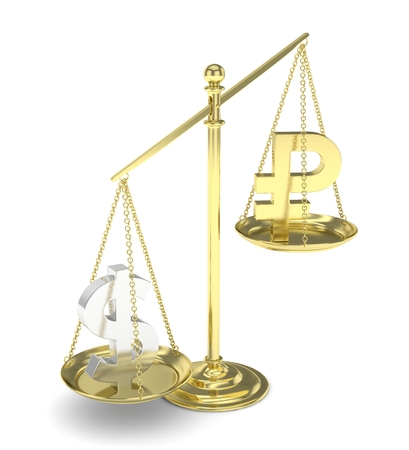 rouble: Isolated old fashioned pan scale with dollar and ruble on white background. American and russian currency. Dollar is heavier. Silver usd, golden rouble. 3D rendering. Stock Photo