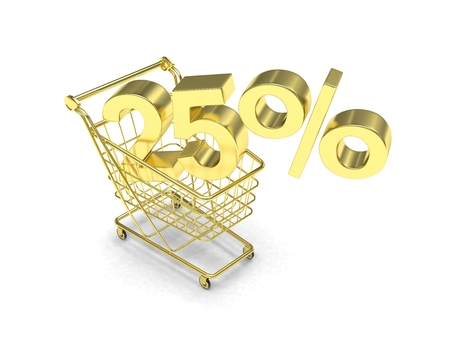 25: discount 25%, shopping cart on white background. 3d rendering.